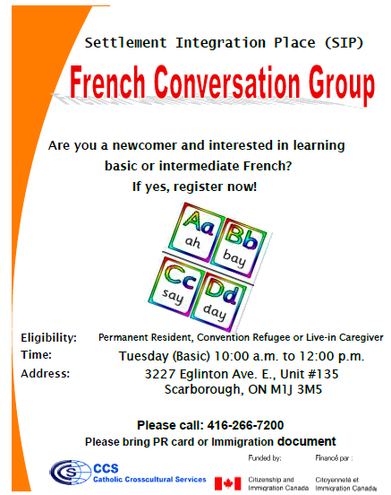 French conversation groups Meets Saturdays from 10