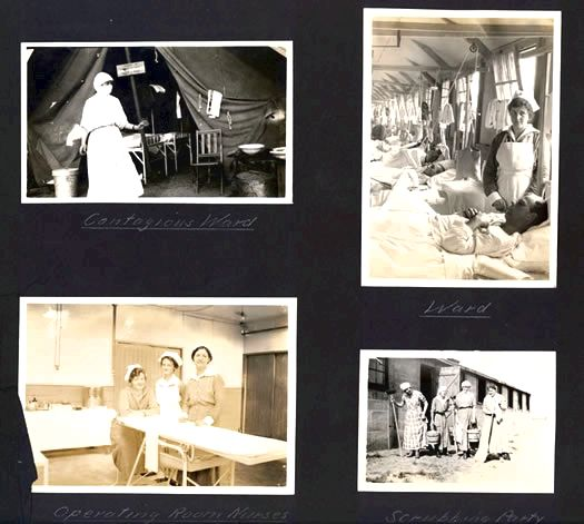 A page from the Base Hospital 22 scrapbook illustrates some of the daily tasks of the nurses